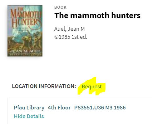 "The ""request"" link displays above the book's location information."