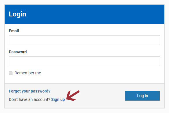 "Use the ""Sign Up"" link at the bottom of the login form."