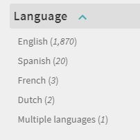 Unfold the Language limiter to view languages available among your search results.