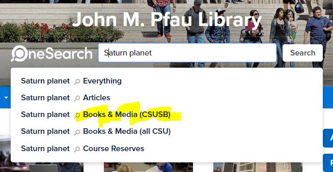 "Screen capture of OneSearch with ""Books & Media (CSUSB)"" highlighted"