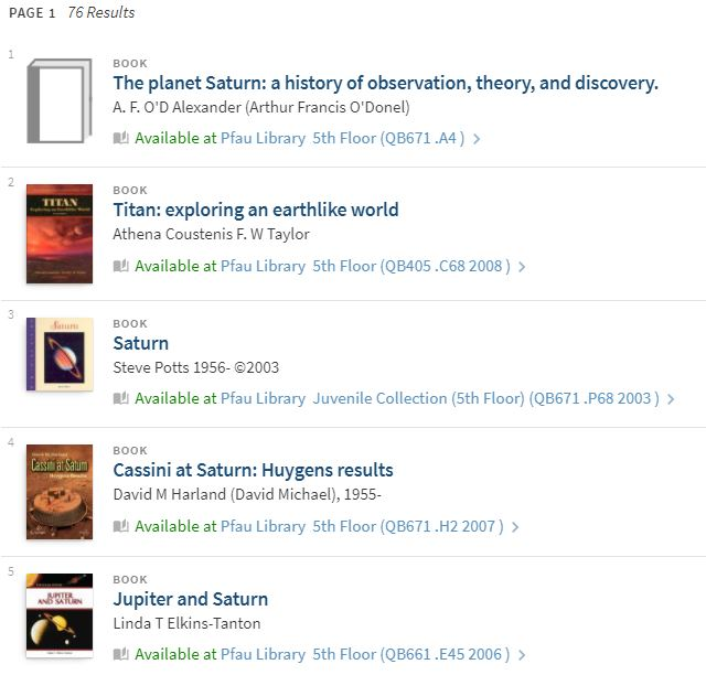 Listing of books available from Pfau Library.