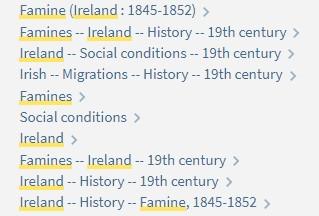 Subject Headings - Irish Famine