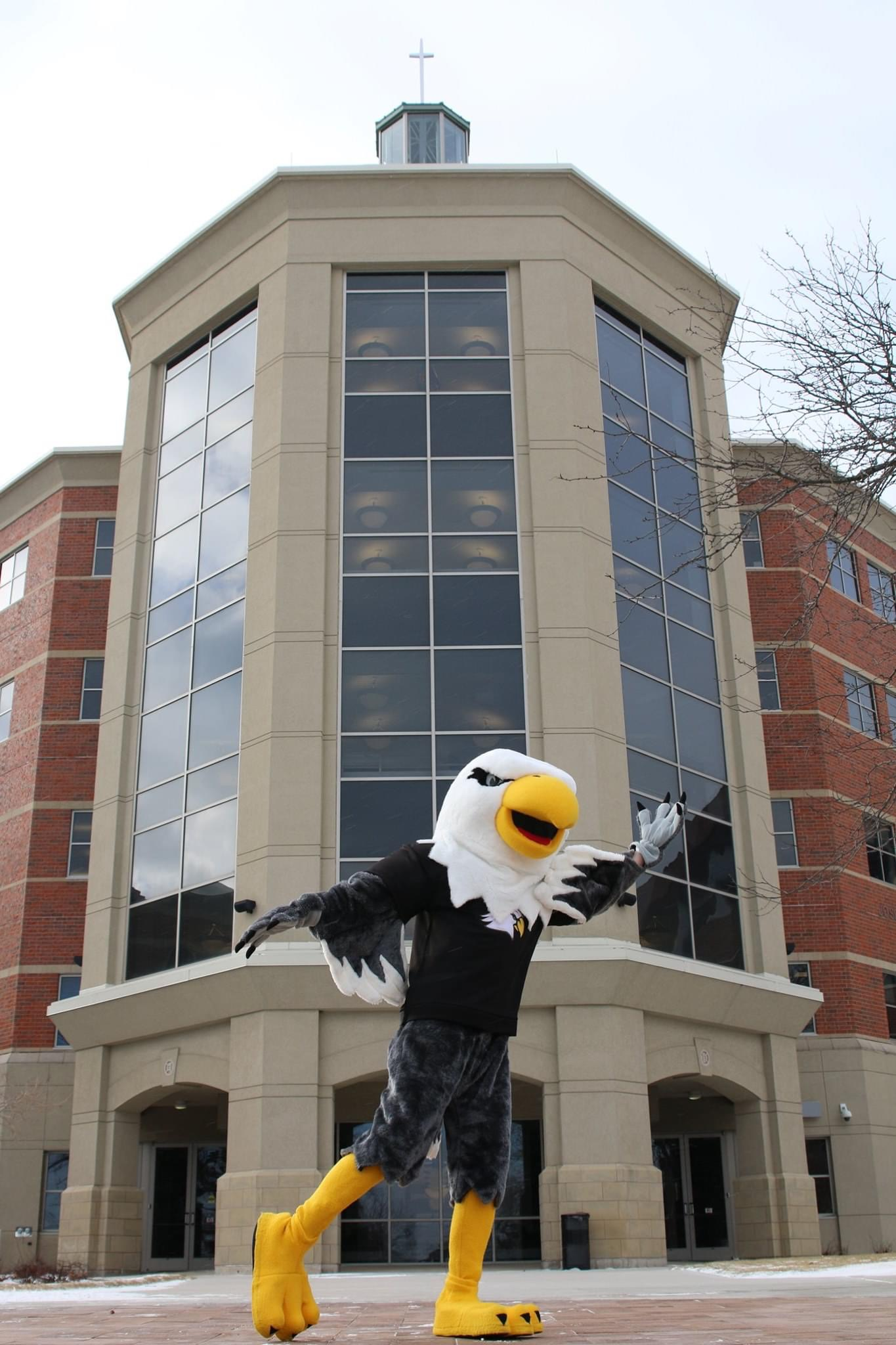 Ernie the Eagle in front of Kindlon Hall