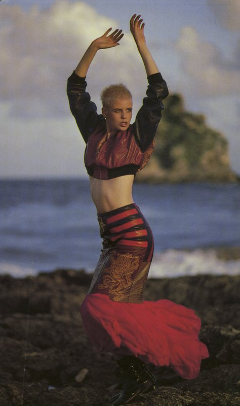 Editorial image of Gaultier top and skirt