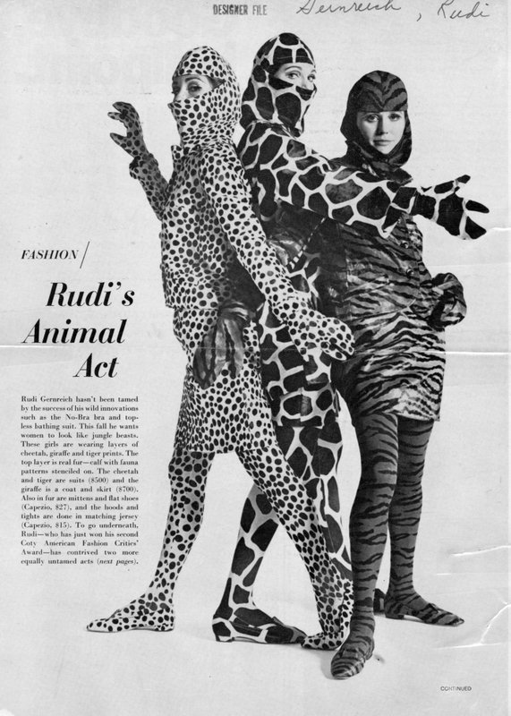 Models in animal print dresses and tights by Rudi Gernreich
