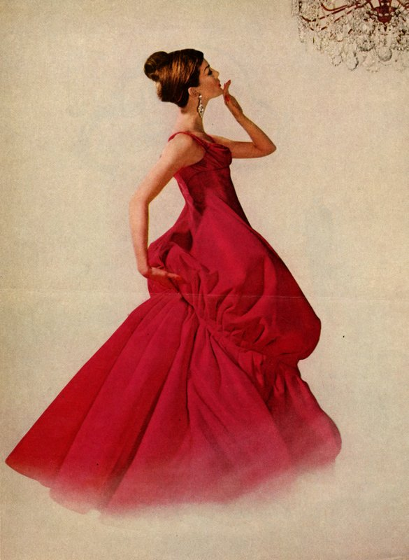 Red evening dress by Charles James