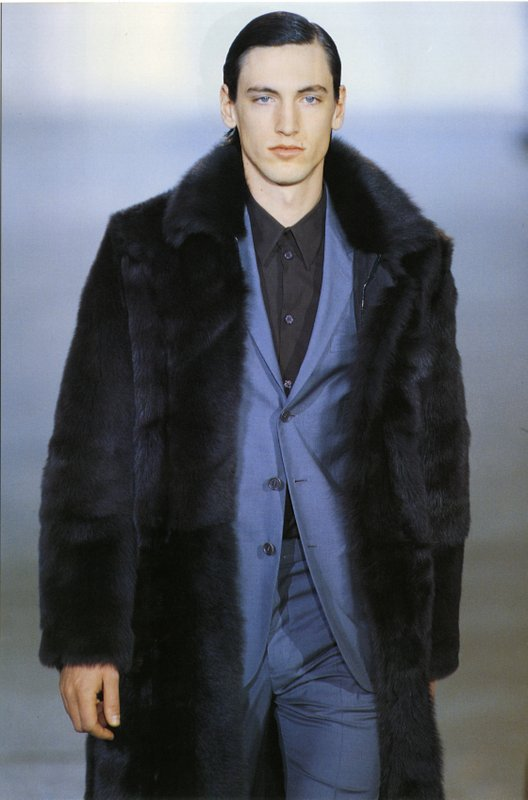 Runway image of Men's suit and fur coat from Helmut Lang