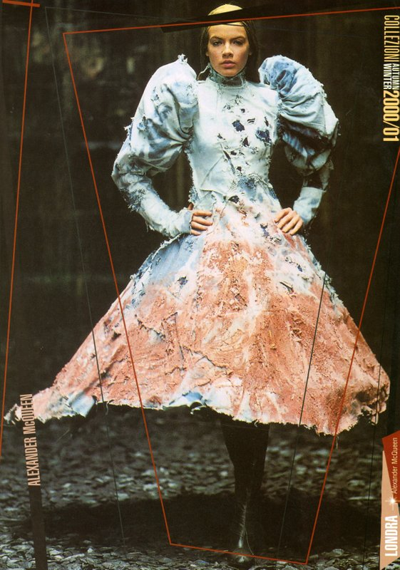 Runway image of Alexander McQueen dress from Fall/Winter 2000/2001 collection