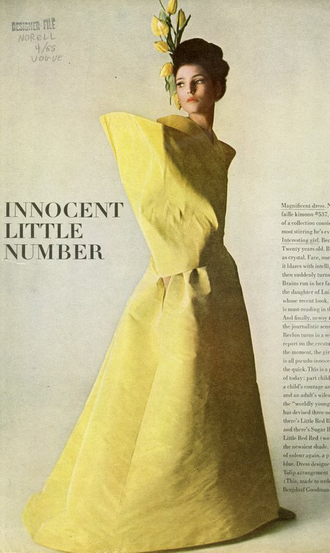 Yellow evening dress by Norman Norell