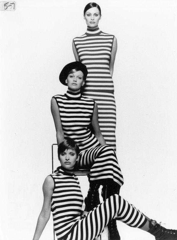Black and white striped dresses by Gianni Versace