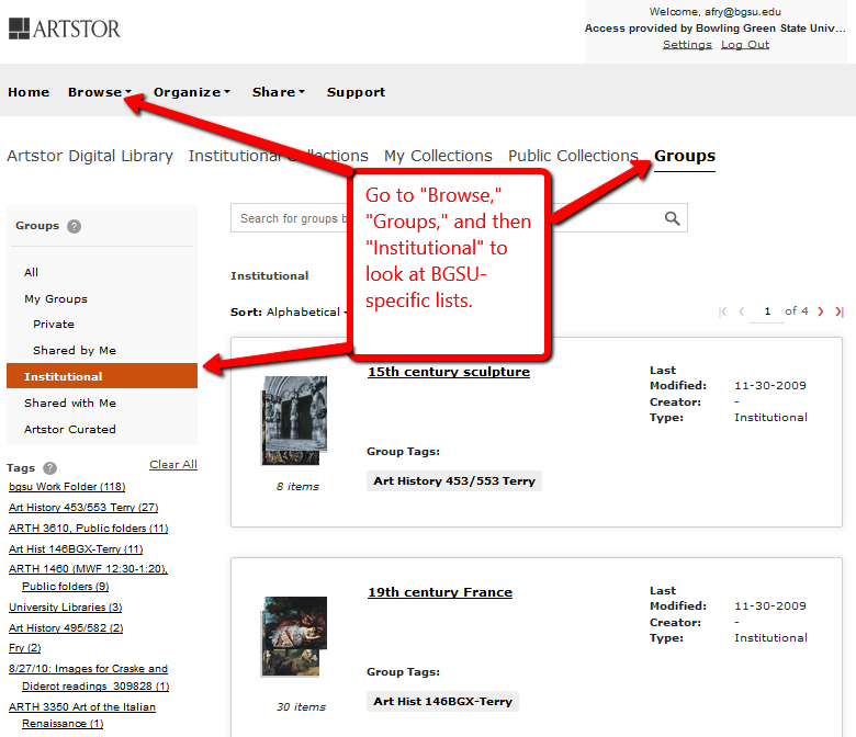 "Go to ""Browse,"" then choose ""Groups."" On the next page, choose ""Institutional"" for BGSU groups."