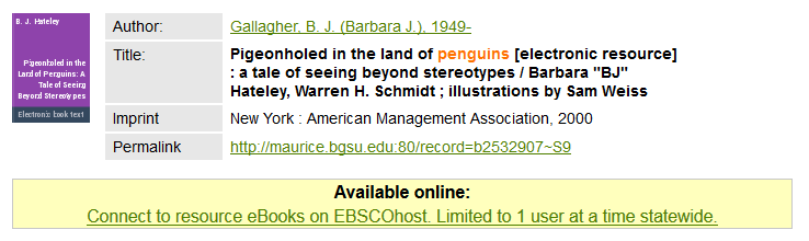 Ebook user limit notes appear beneath the ebook information in the catalog, within the link connecting to the book.