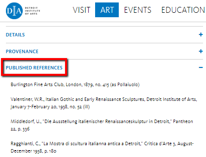 "On the DIA website, you will find bibliographies for objects under the ""Published References"" heading"