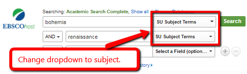 Change the dropdown after the search box in EBSCO to subject to search by subject.
