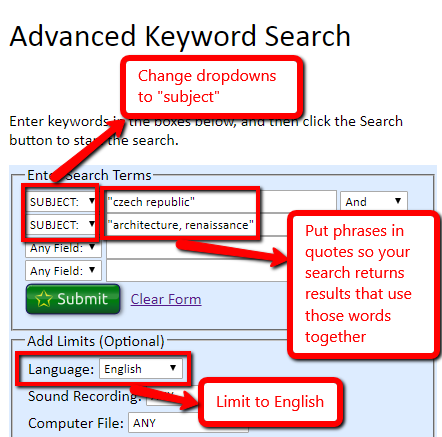 "In the OhioLINK advanced search, change the dropdown next to the search box to ""subject."" Put phrases in quotes so your search returns results that use those words together. You can limit to English language materials at the bottom of the screen."