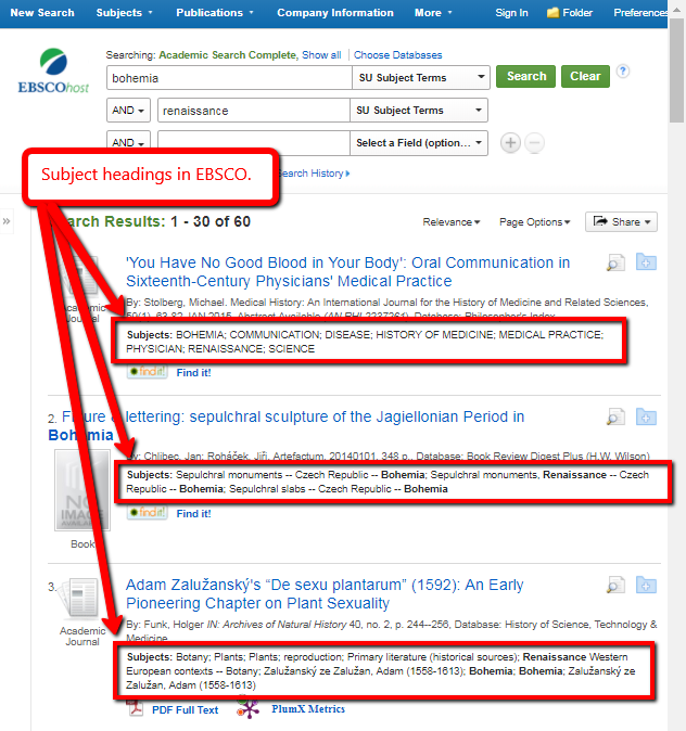 subject headings in EBSCO results
