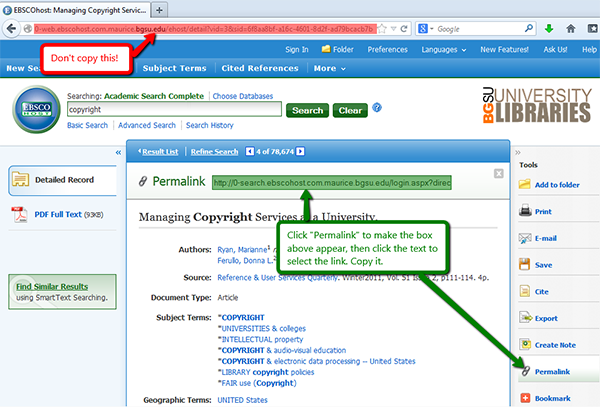 In EBSCO, do not copy the url in the browser bar. Use the permalink option on the right side of the screen.