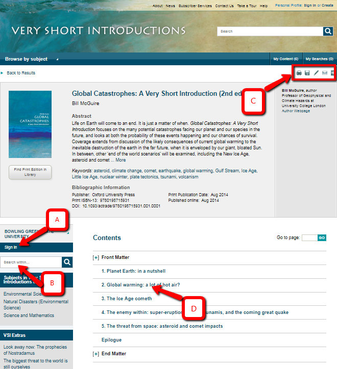Screenshot of very short introductions search screen