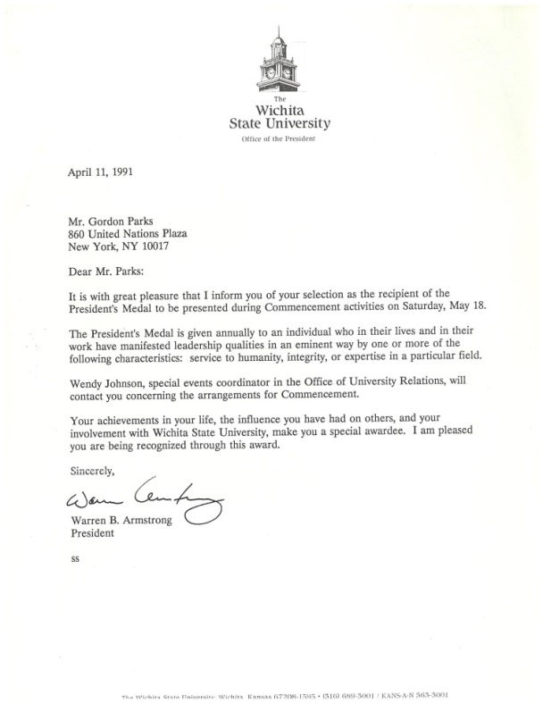 President's Medal award letter given to Parks by WSU President Armstrong