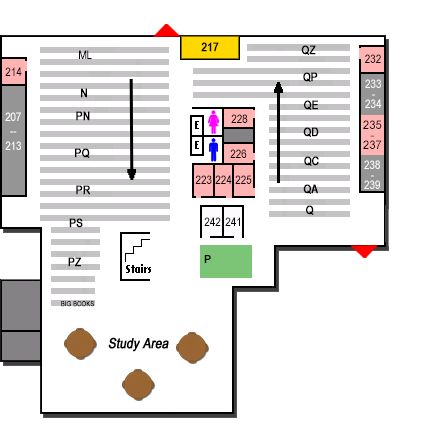 map of Ablah Library second floor