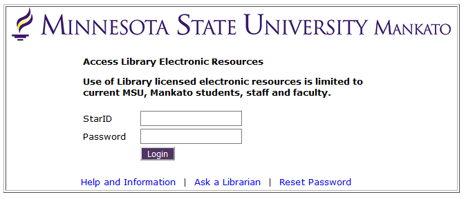 Login to access Electronic Resources, another type of login screen