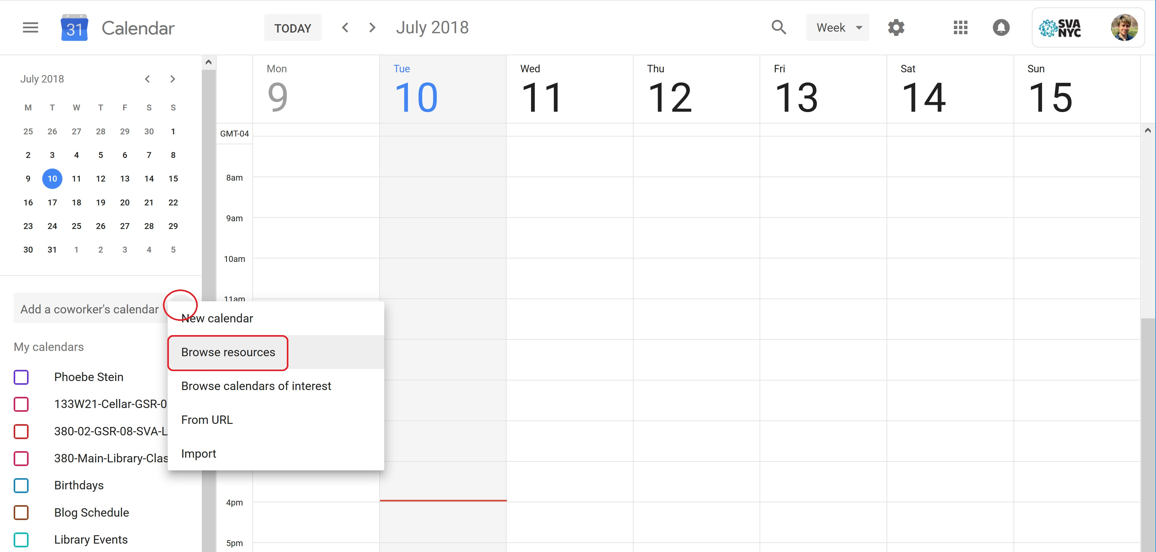 A screenshot of Google Calendar, with the Add calendar menu open.