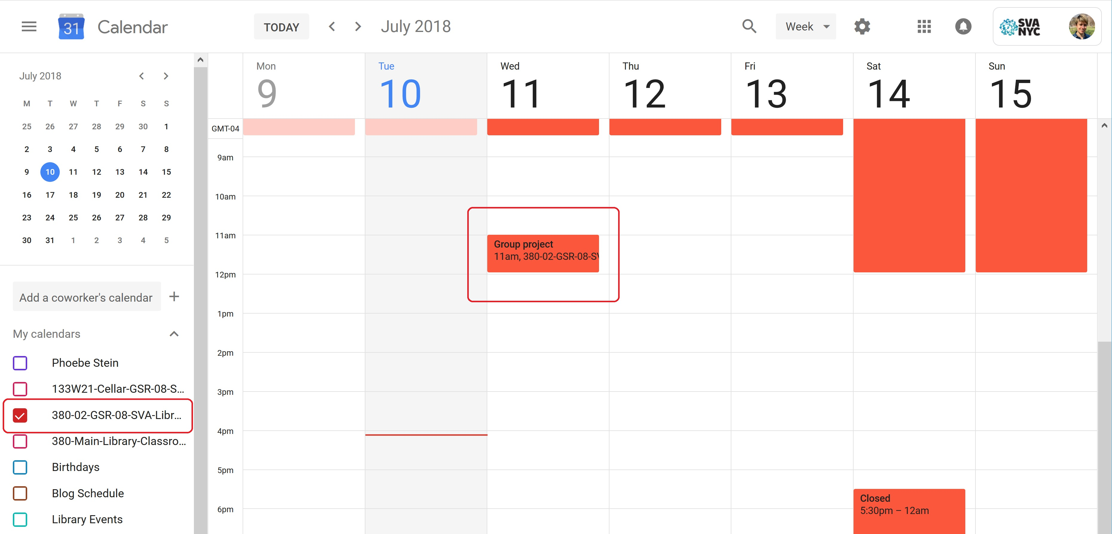 A screenshot of the main Google Calendar page, with the Group Study Room calendar highlighted.