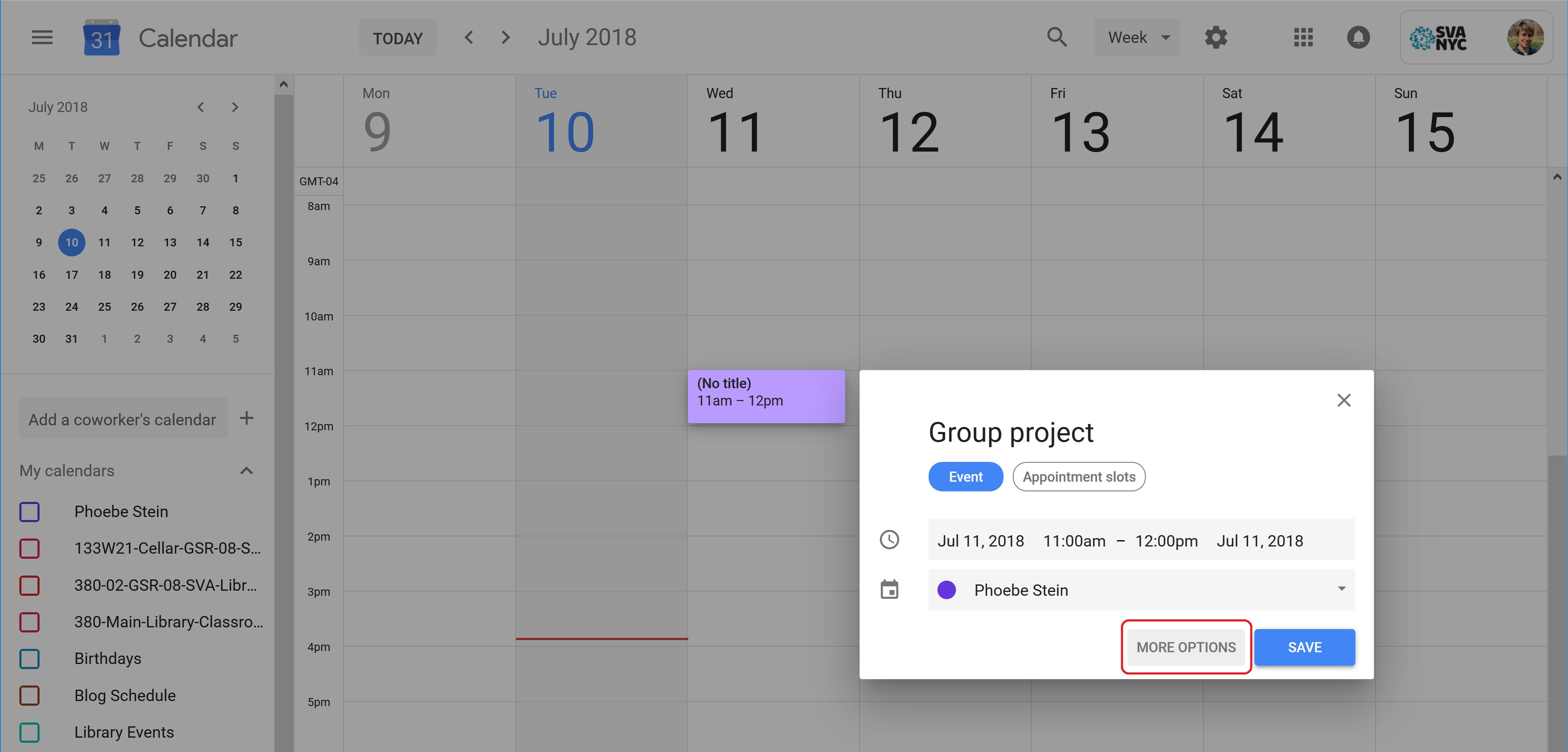 A screenshot of Google Calendar week view, with a new event slot selected.