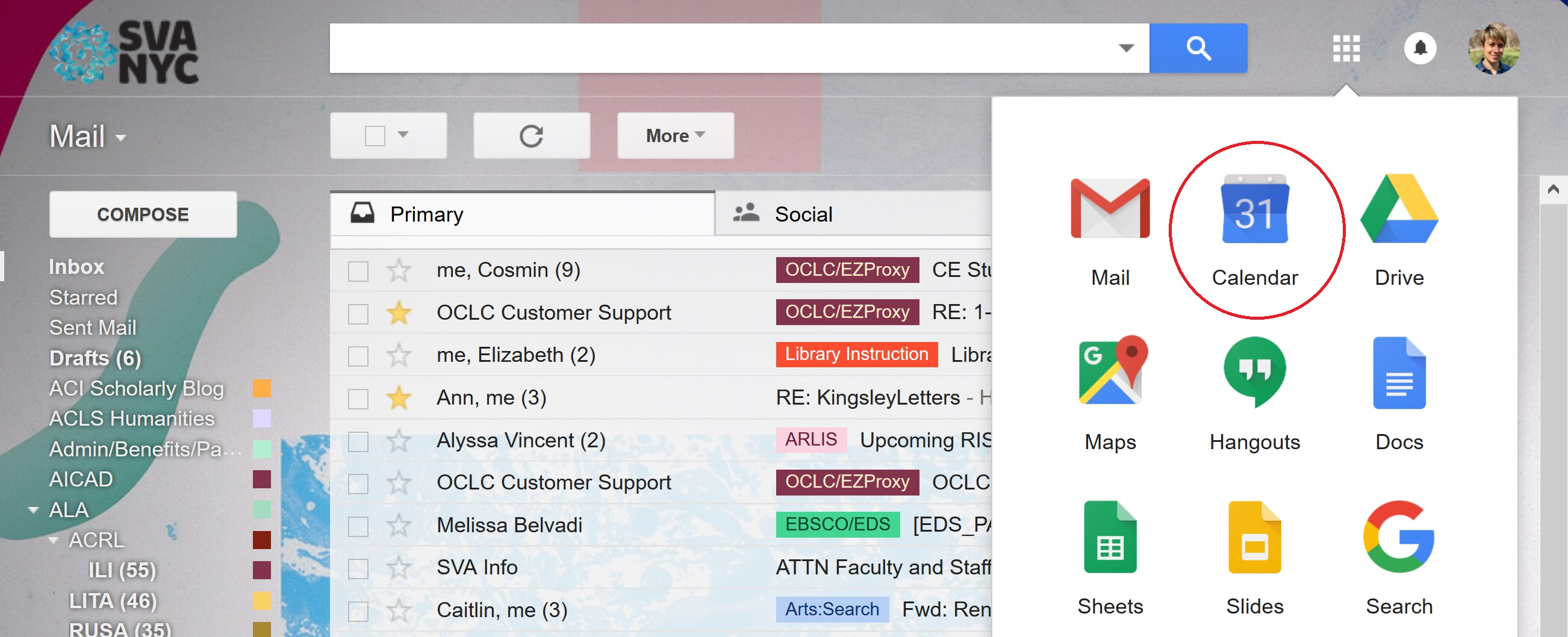 A screenshot of a Gmail inbox with the Google Apps menu selected.