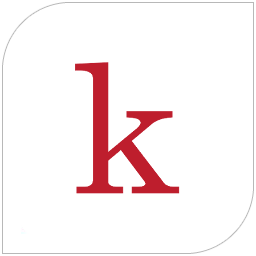 Kanopy's logo, the letter K in red.