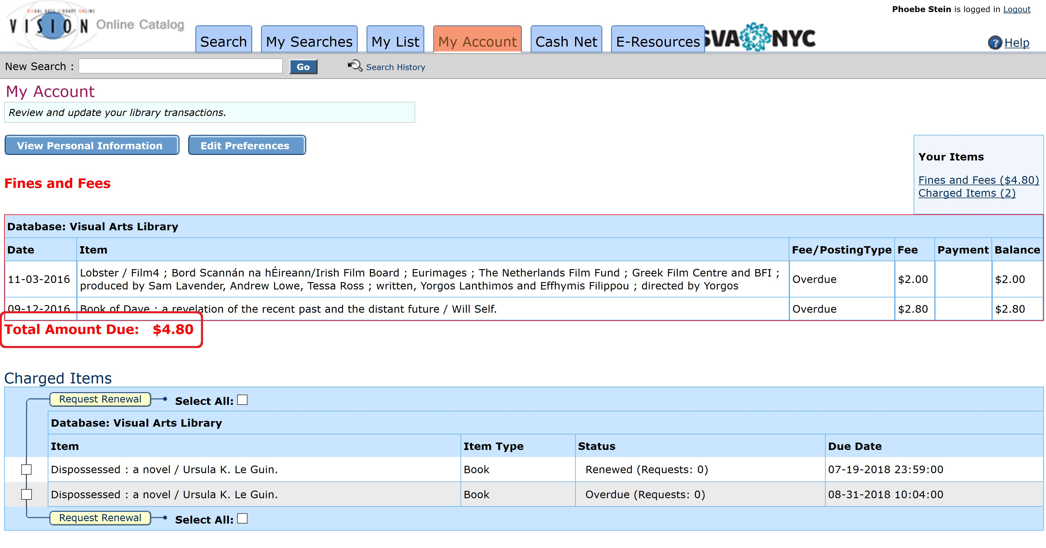 A screenshot of a patron library account in Vision.