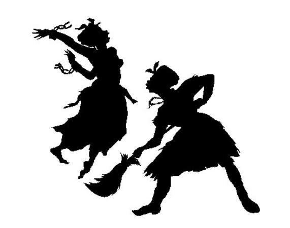 An image of two black silhouettes of women. One is jumping with her arm back, and the other is bent forward holding a broom.