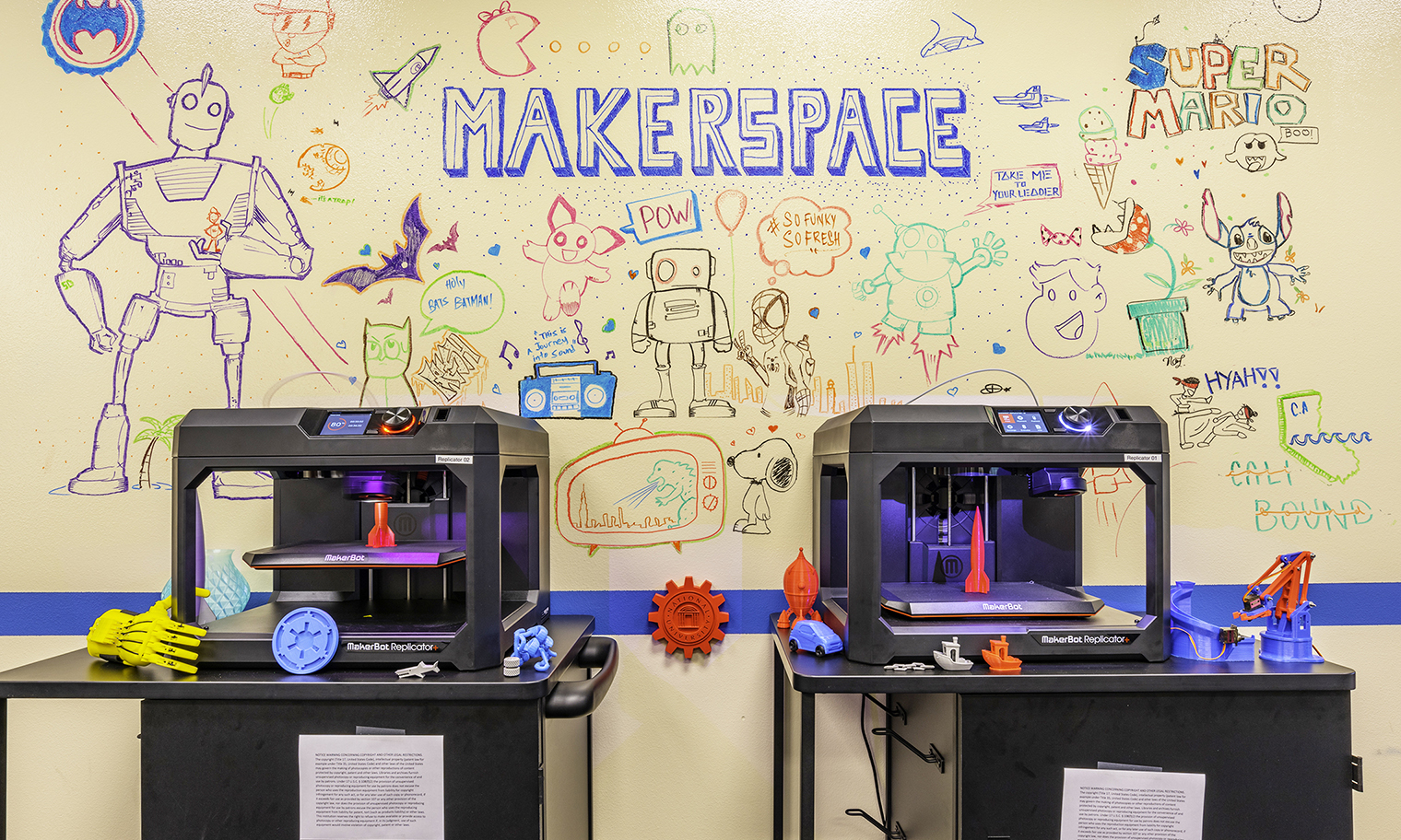 Two Makerbot Replicator+ 3D Printers