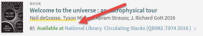 """A screenshot from the Library's catalog that highlights the """"Available at"""" link underneath a book title."""