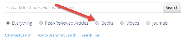 "Screenshot of the SmartSearch bar, with the ""Books"" option highlighted."