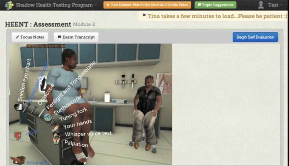 Shadow Health Testing Program: Tina