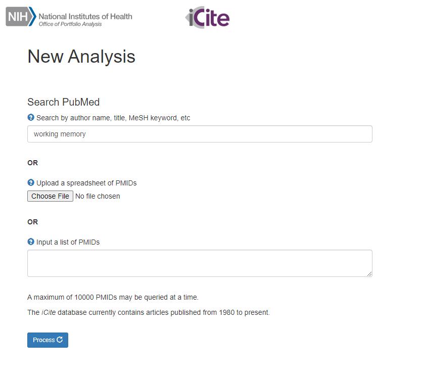 iCite Search Menu