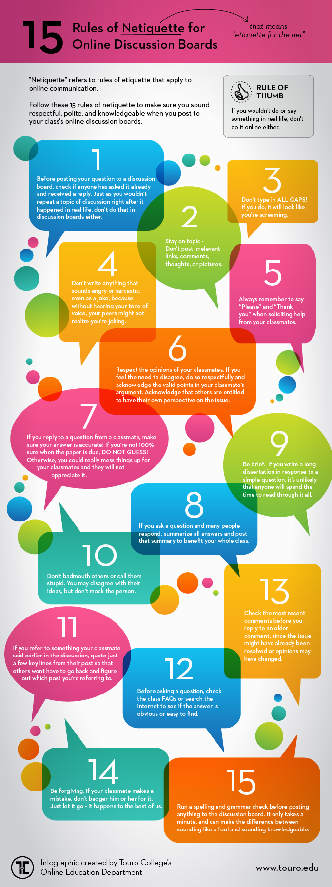 Netiquette from the Online Education Blog of Touro College