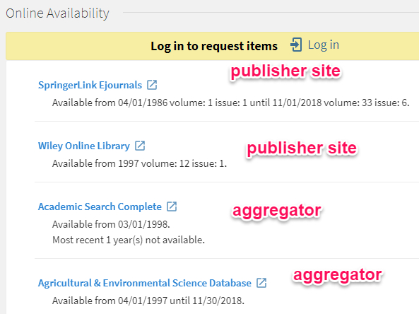 OneSearch online services menu for Ecological research
