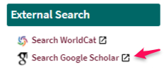 Google Scholar External Search from OneSearch