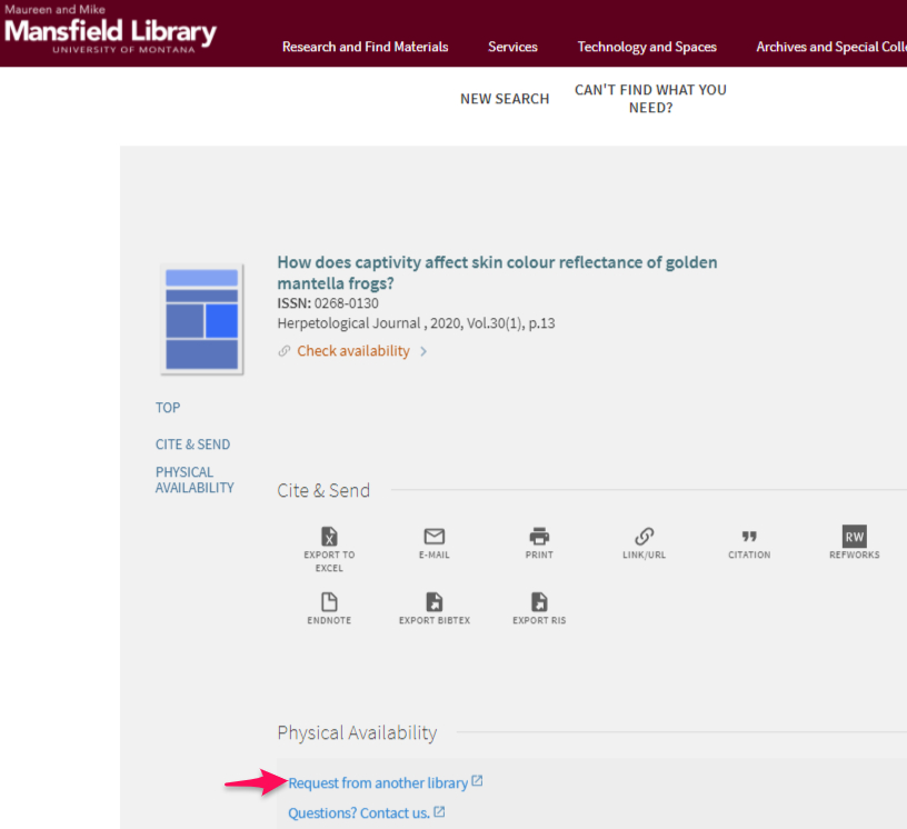 Request from another library link (interlibrary loan)