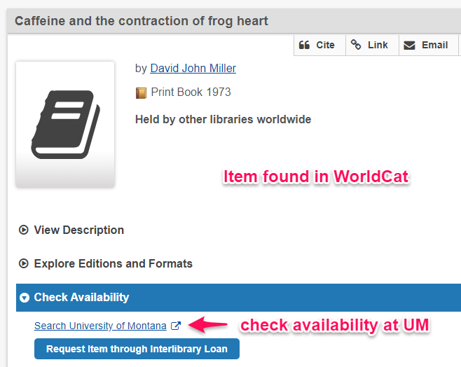 WorldCat record Search University of Montana link