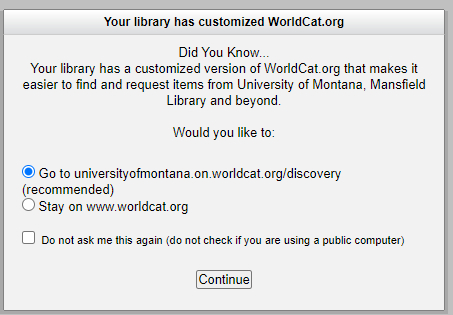 Worldcat.org redirect to WorldCat Discovery