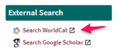 WorldCat External Search from OneSearch