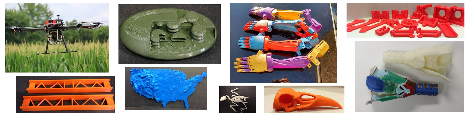 Decorative image of sample 3D printed objects