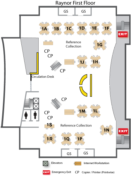 Raynor Library 1st Floor Layout