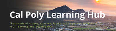 Cal Poly Learning Hub with Bishop peak landscape photo