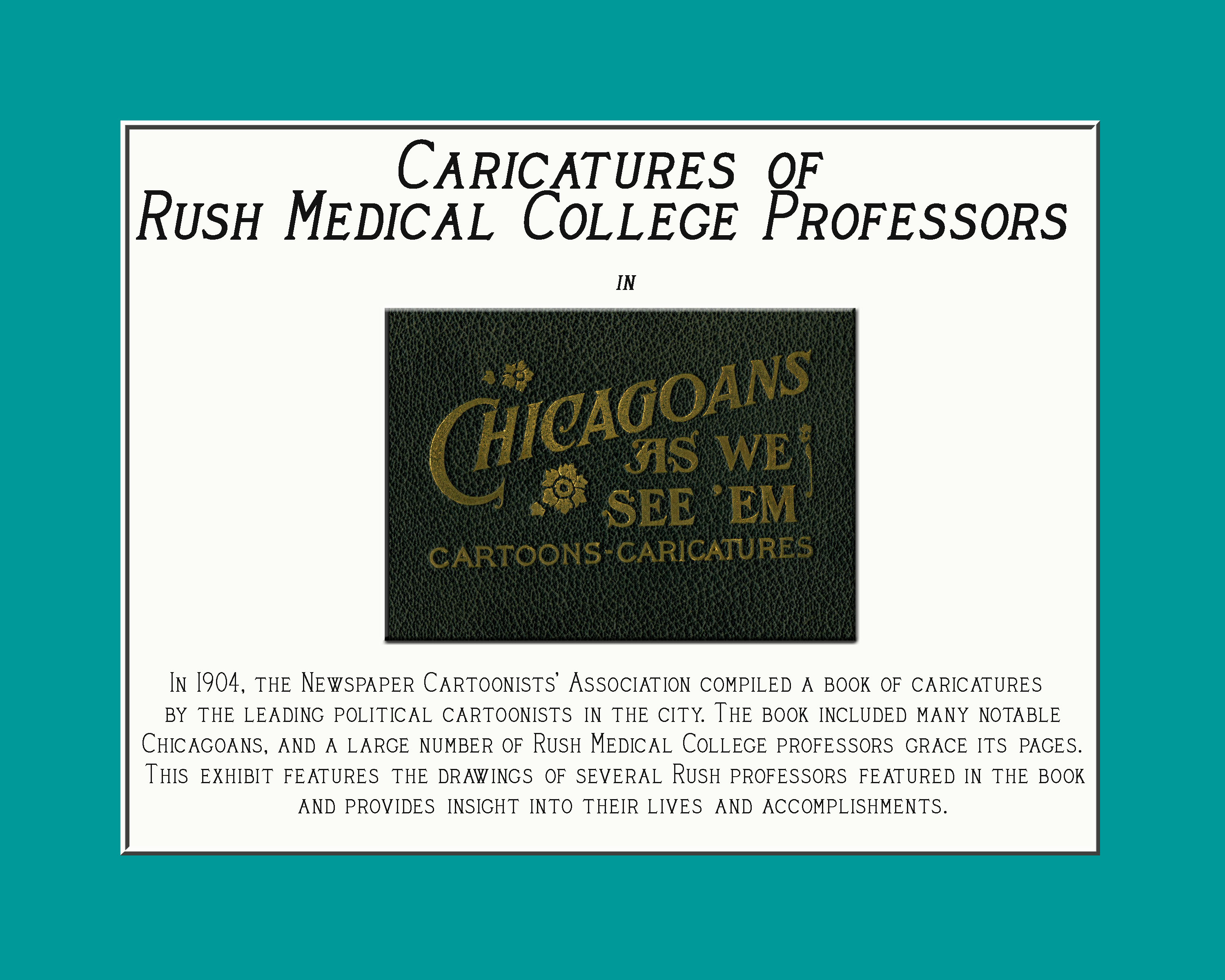 Title panel for Caricature exhibit. Text on page.
