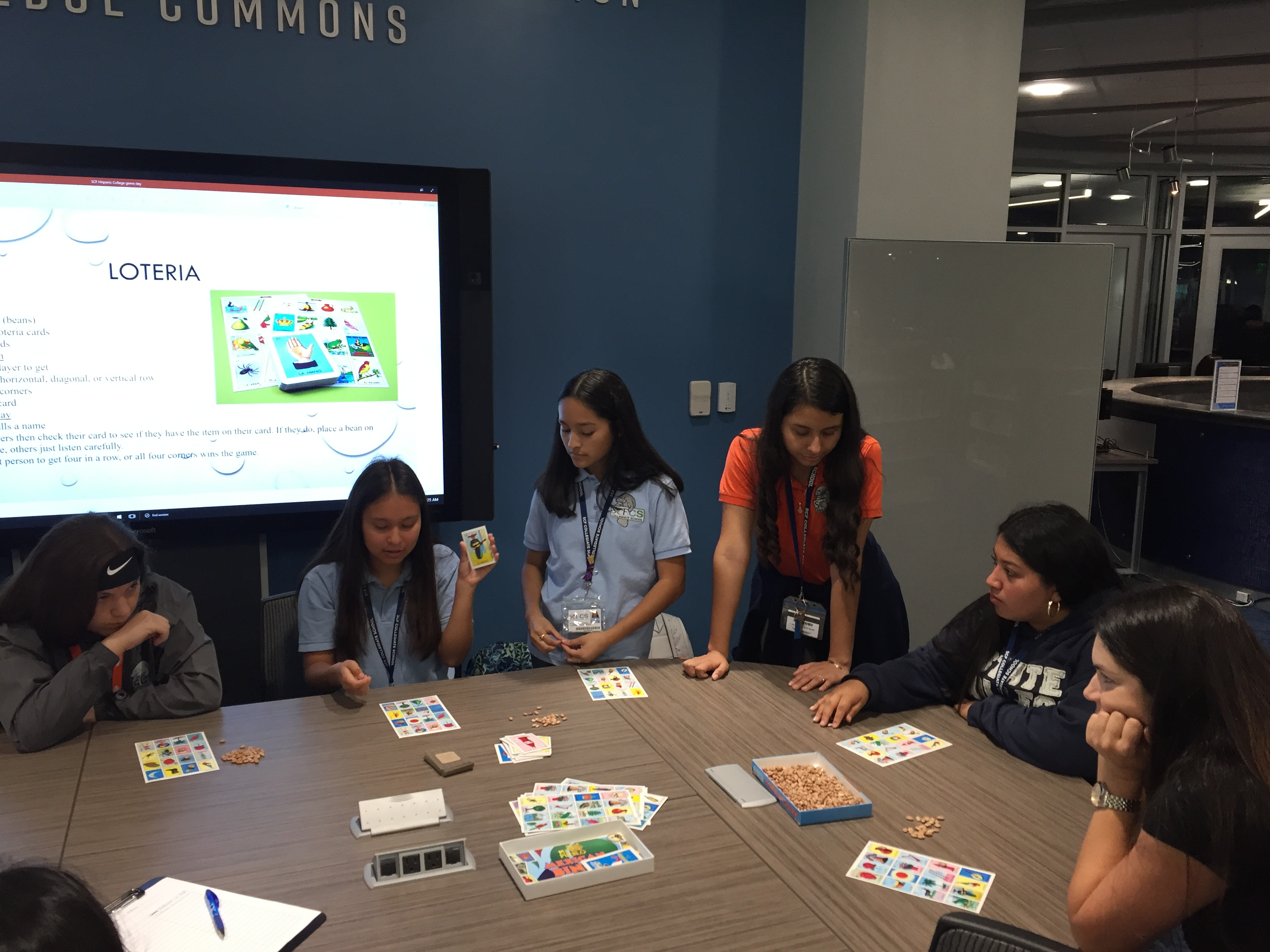 Students playing loteria