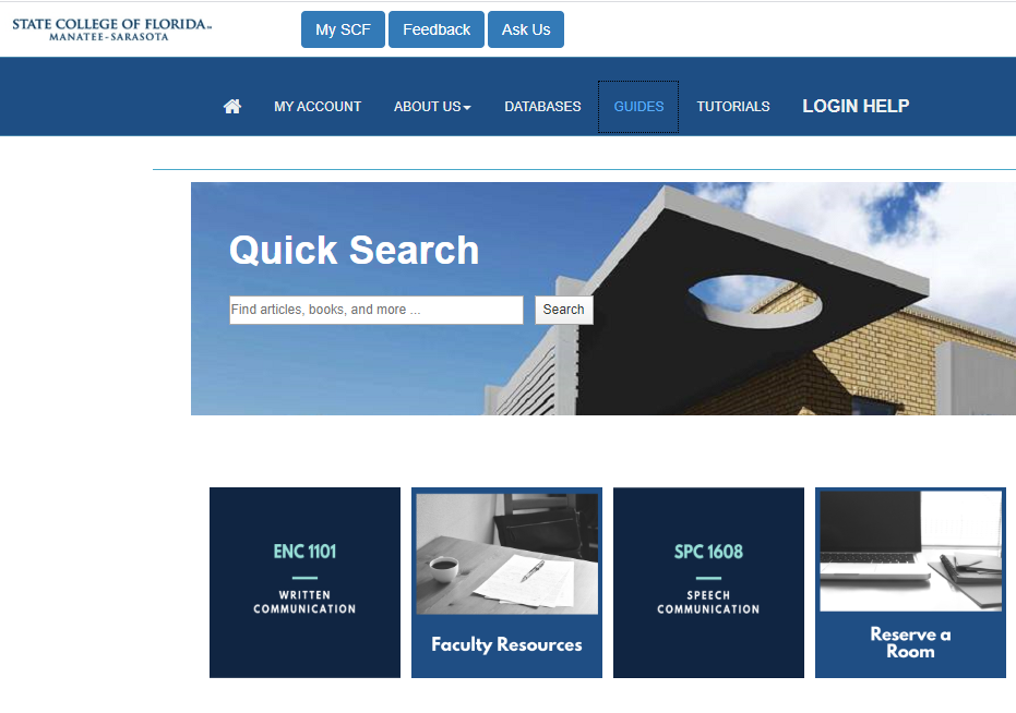 Quick Search in the SCF.edu/Library homepage